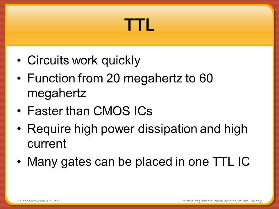 TTL Circuits work quickly Function from 20 megahertz to 60 megahertz