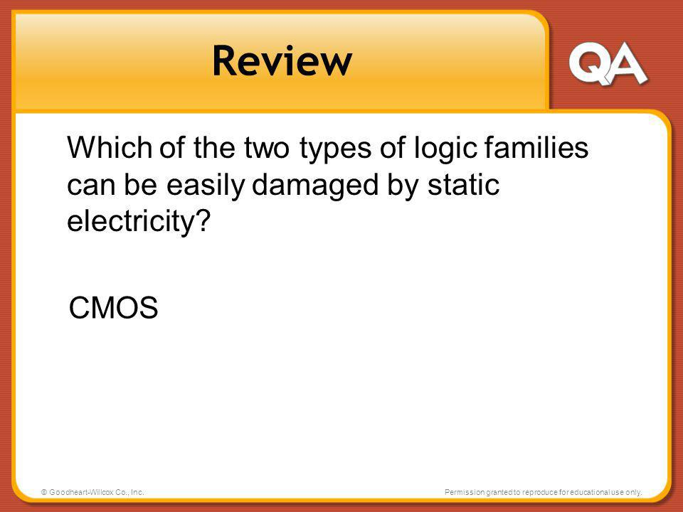 Review Which of the two types of logic families can be easily damaged by static electricity CMOS.