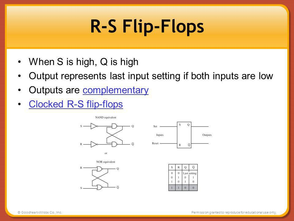 R-S Flip-Flops When S is high, Q is high