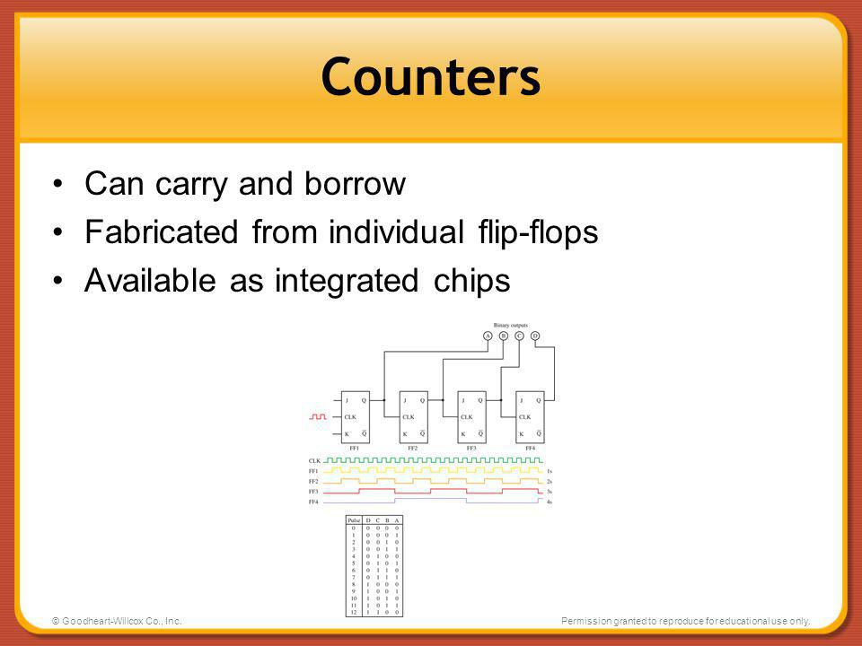 Counters Can carry and borrow Fabricated from individual flip-flops