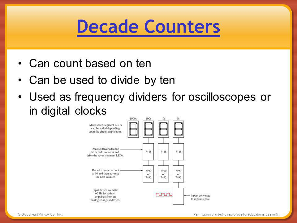 Decade Counters Can count based on ten Can be used to divide by ten
