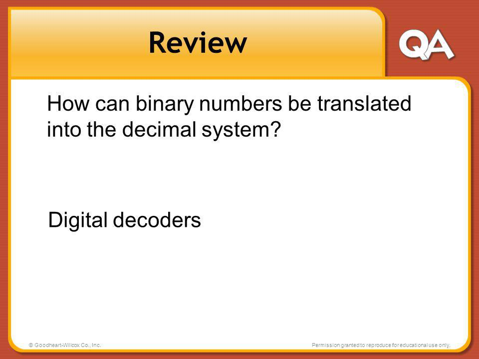 Review How can binary numbers be translated into the decimal system