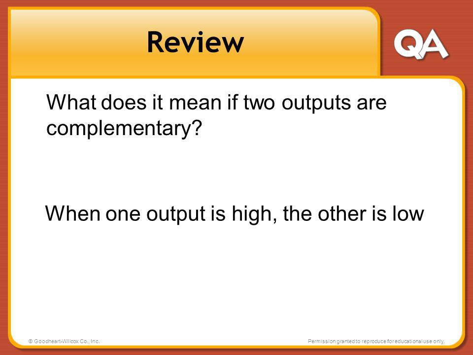 Review What does it mean if two outputs are complementary