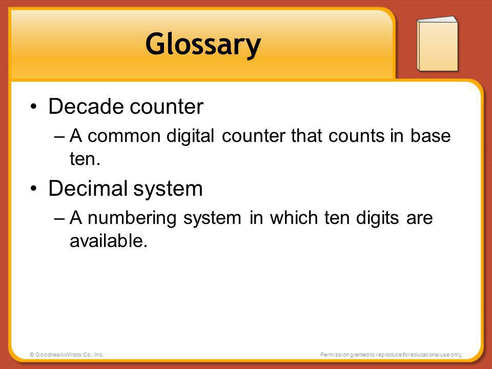 Glossary Decade counter Decimal system