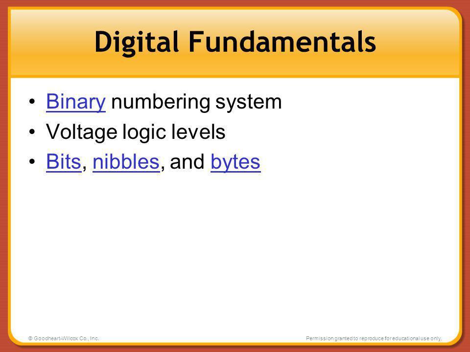 Digital Fundamentals Binary numbering system Voltage logic levels