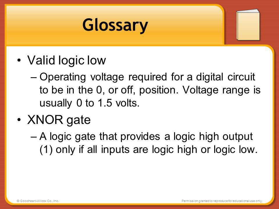 Glossary Valid logic low XNOR gate