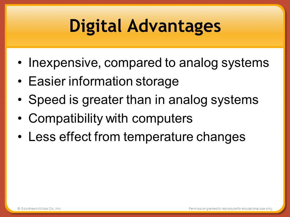 Digital Advantages Inexpensive, compared to analog systems