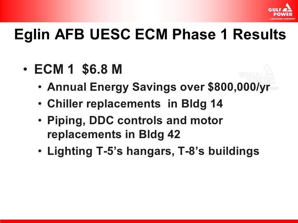 Eglin AFB UESC ECM Phase 1 Results