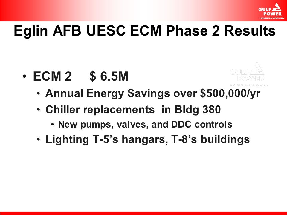Eglin AFB UESC ECM Phase 2 Results
