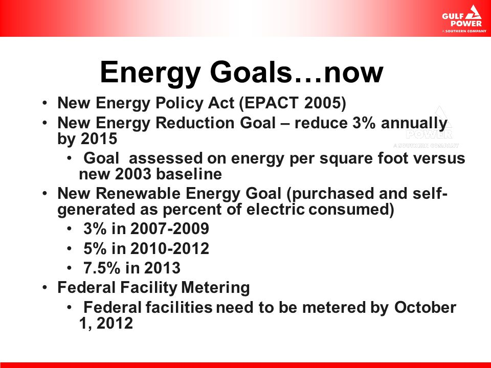 Energy Goals…now New Energy Policy Act (EPACT 2005)