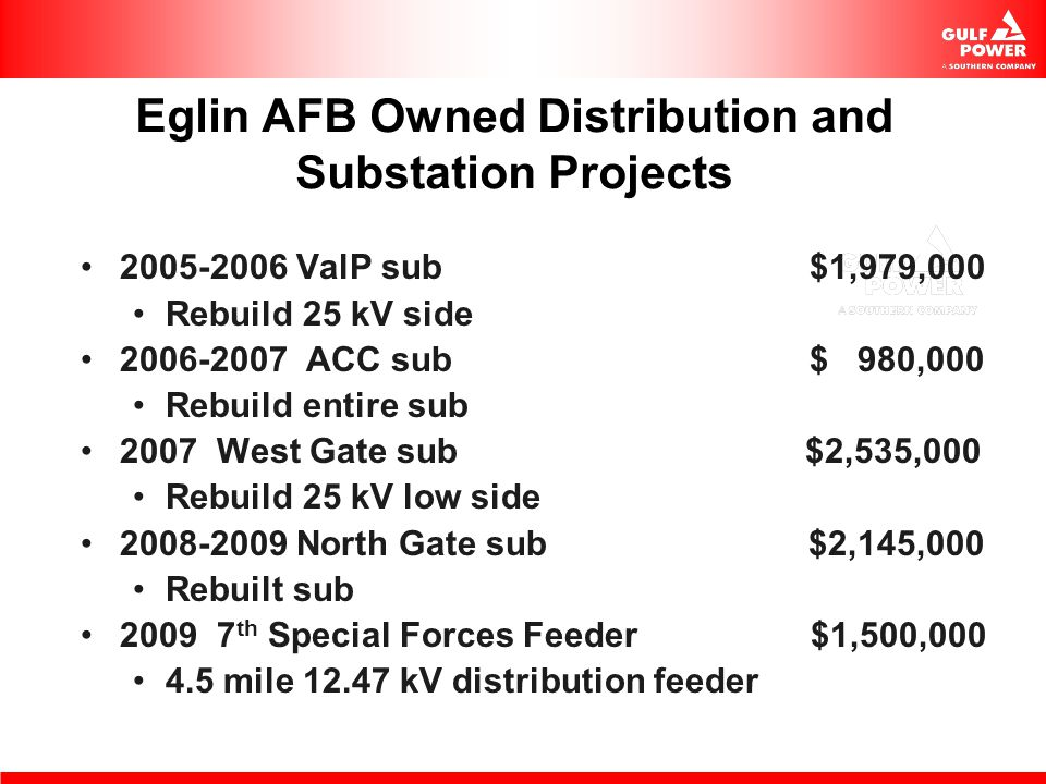 Eglin AFB Owned Distribution and Substation Projects