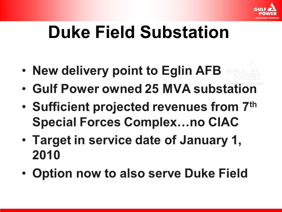 Duke Field Substation New delivery point to Eglin AFB