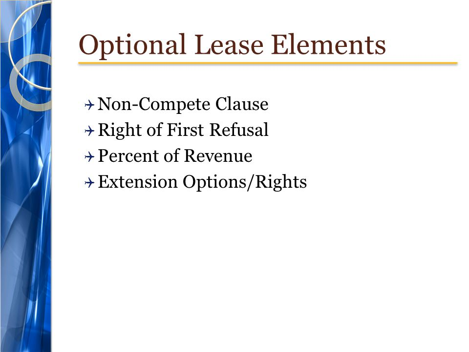 Optional Lease Elements