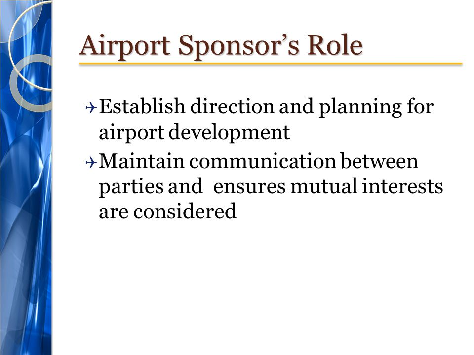 Airport Sponsor's Role
