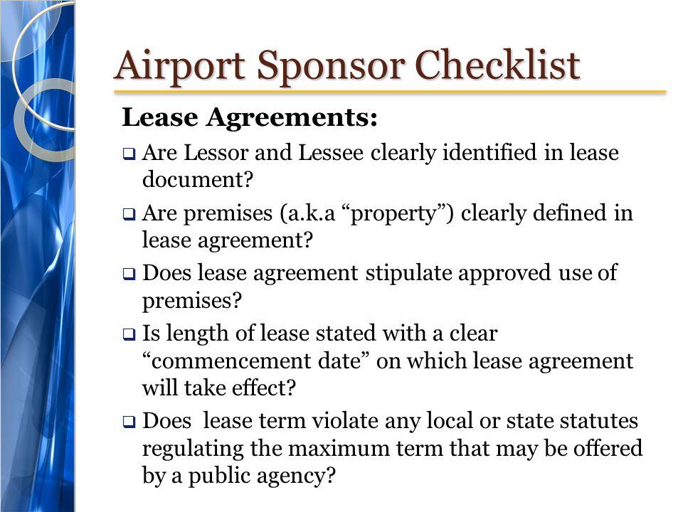 Airport Sponsor Checklist