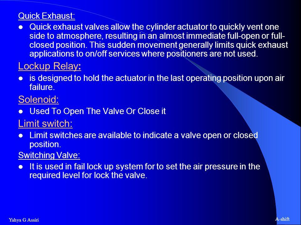 Lockup Relay: Solenoid: Limit switch: Quick Exhaust:
