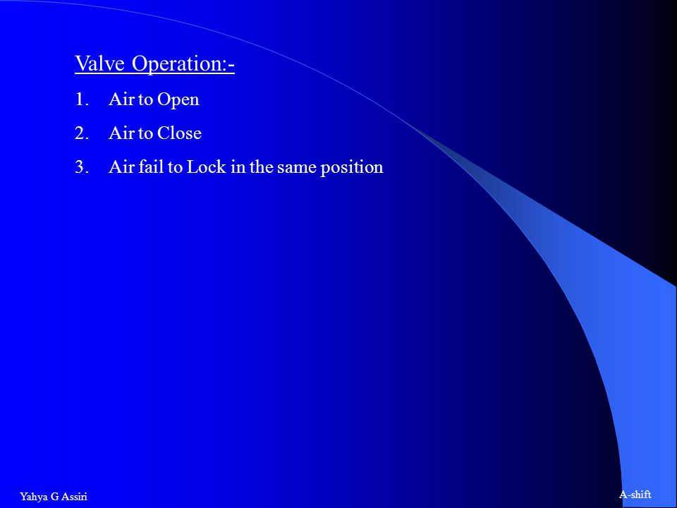 Valve Operation:- Air to Open Air to Close