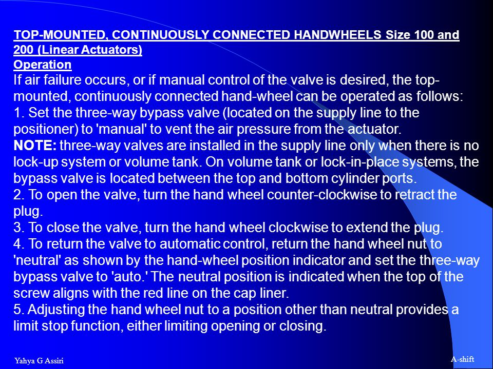 TOP-MOUNTED, CONTINUOUSLY CONNECTED HANDWHEELS Size 100 and 200 (Linear Actuators)