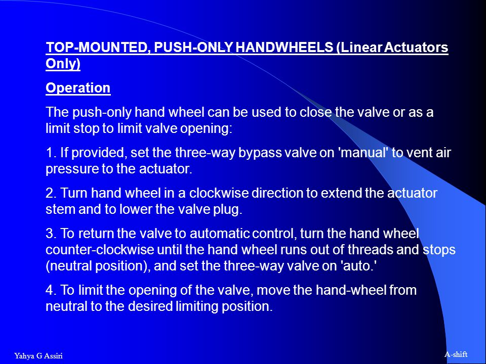 TOP-MOUNTED, PUSH-ONLY HANDWHEELS (Linear Actuators Only)