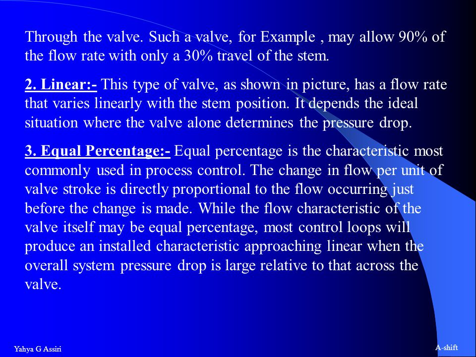 Through the valve. Such a valve, for Example , may allow 90% of the flow rate with only a 30% travel of the stem.