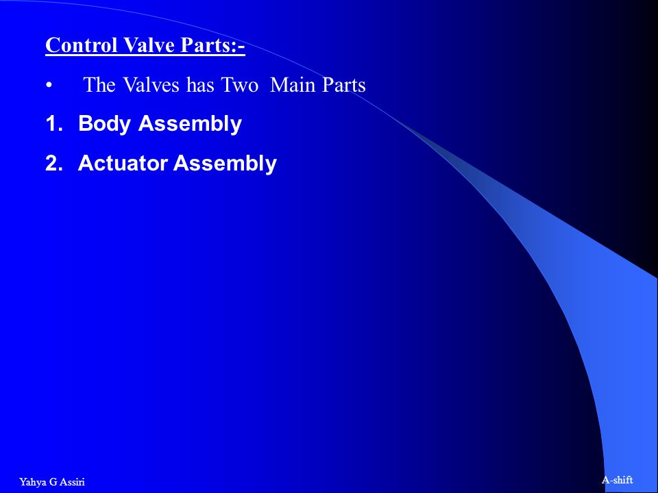Control Valve Parts:- The Valves has Two Main Parts Body Assembly Actuator Assembly