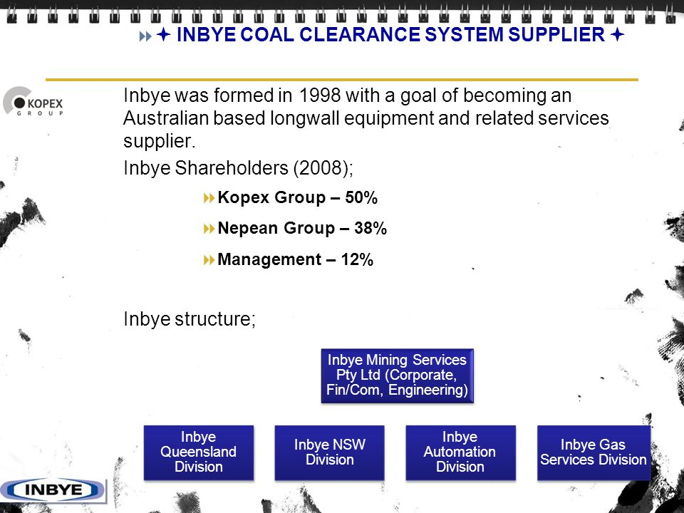  INBYE COAL CLEARANCE SYSTEM SUPPLIER 