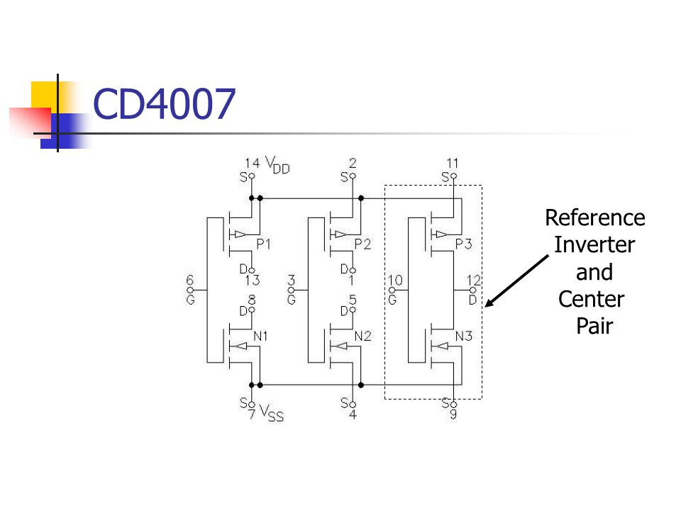 CD4007 Reference Inverter and Center Pair