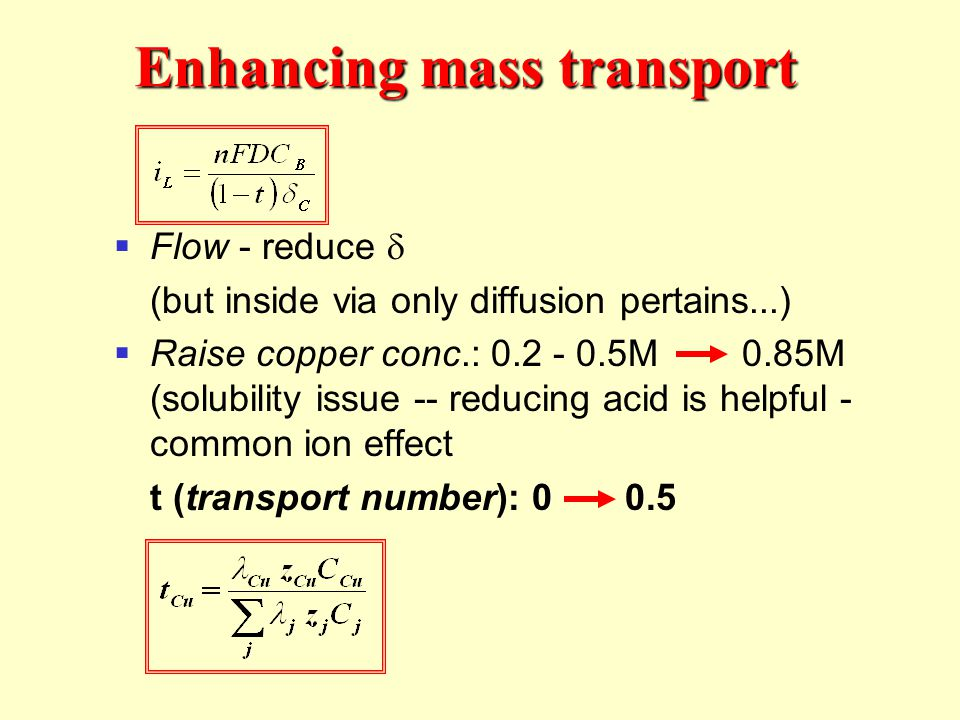 Enhancing mass transport