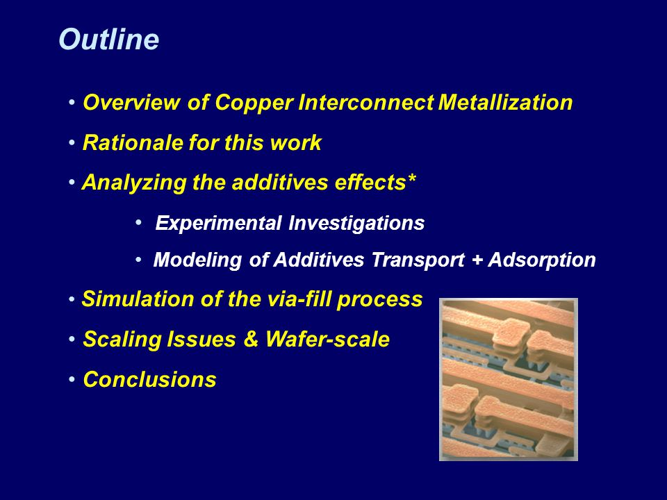 Outline Overview of Copper Interconnect Metallization