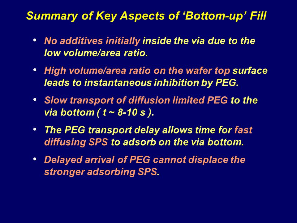 Summary of Key Aspects of 'Bottom-up' Fill