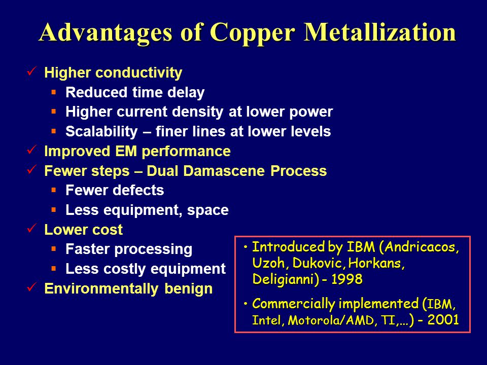 Advantages of Copper Metallization