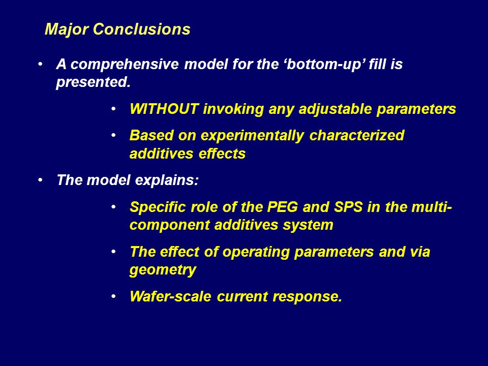 Major Conclusions A comprehensive model for the 'bottom-up' fill is presented. WITHOUT invoking any adjustable parameters.