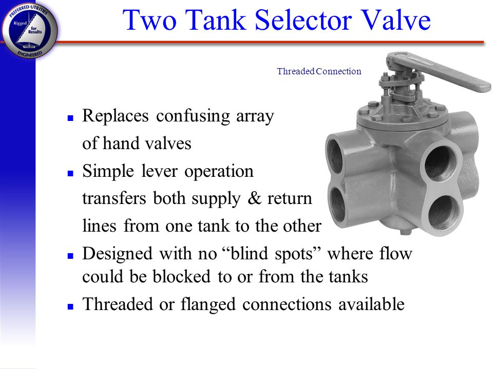 Two Tank Selector Valve