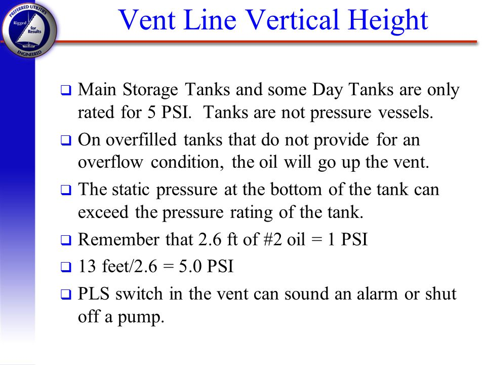 Vent Line Vertical Height