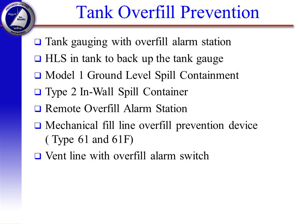 Tank Overfill Prevention