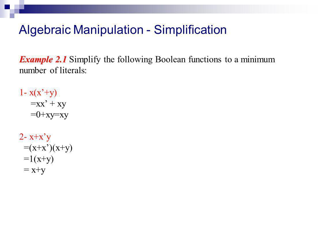 Algebraic Manipulation - Simplification