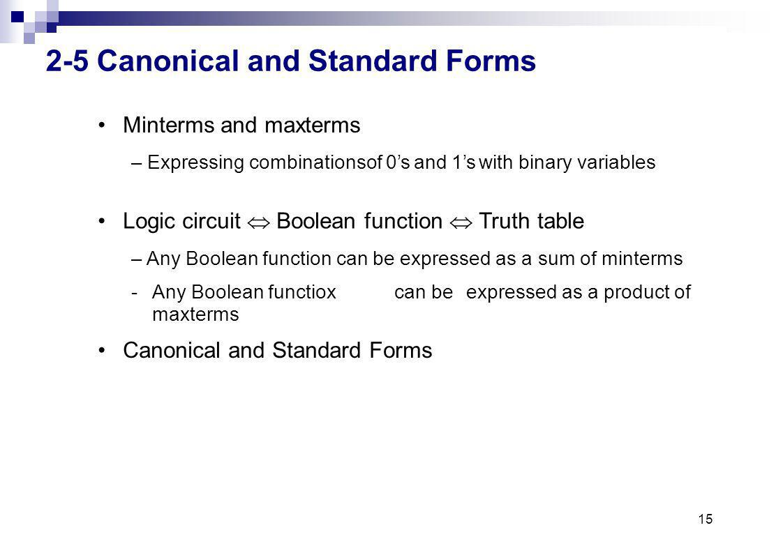 2-5 Canonical and Standard Forms
