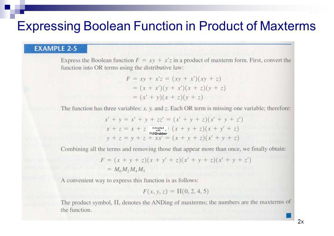 Expressing Boolean Function in Product of Maxterms