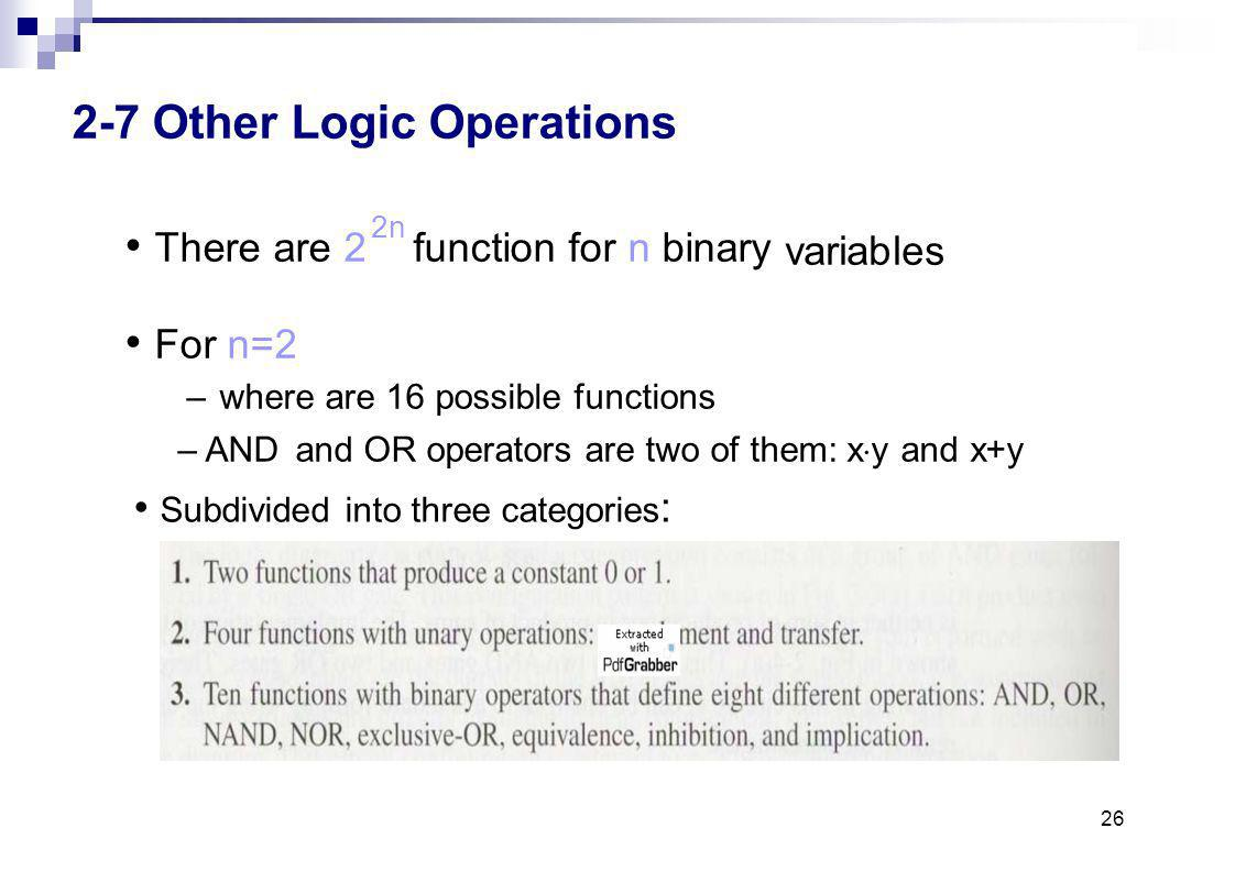 2-7 Other Logic Operations