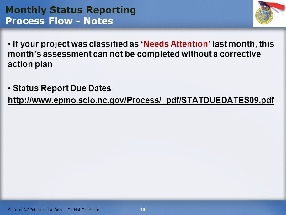 Monthly Status Reporting Process Flow - Notes