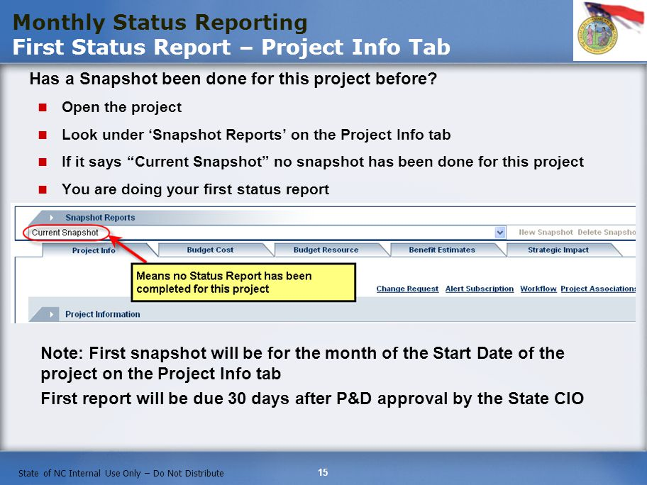 Monthly Status Reporting First Status Report – Project Info Tab