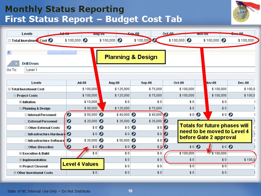 Monthly Status Reporting First Status Report – Budget Cost Tab
