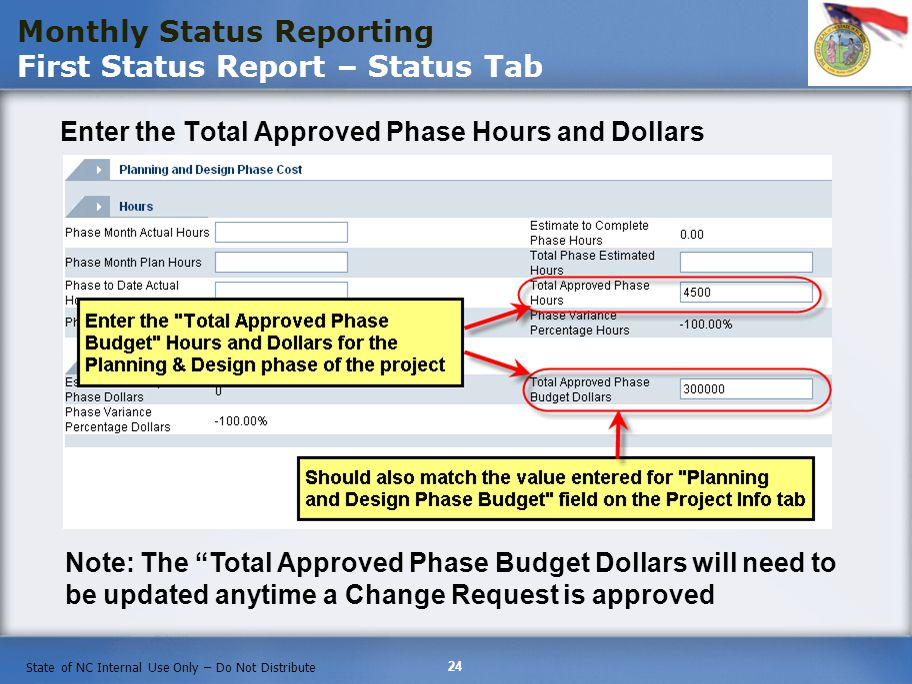 Monthly Status Reporting First Status Report – Status Tab