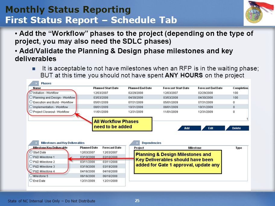 Monthly Status Reporting First Status Report – Schedule Tab