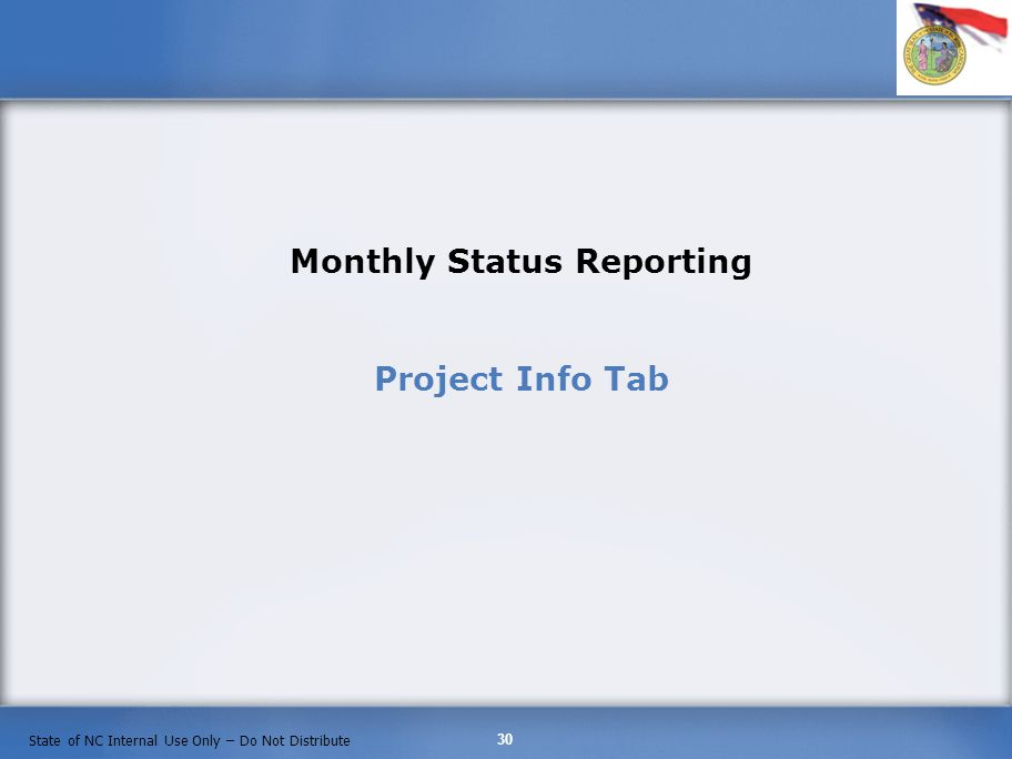 Monthly Status Reporting Project Info Tab