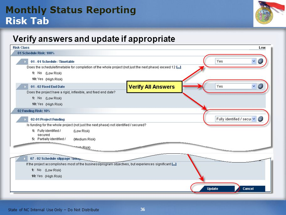 Monthly Status Reporting Risk Tab