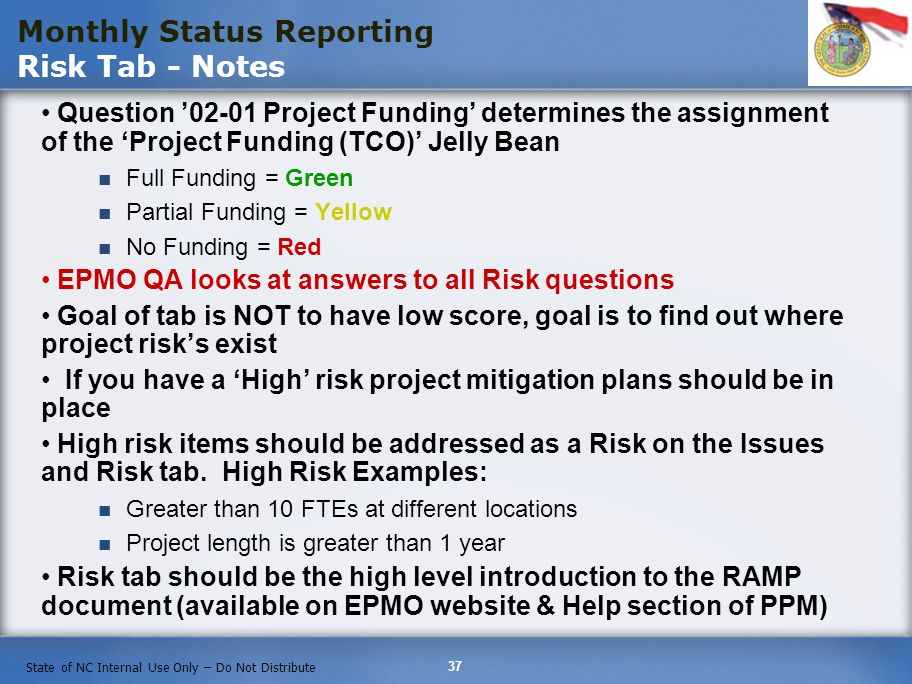 Monthly Status Reporting Risk Tab - Notes