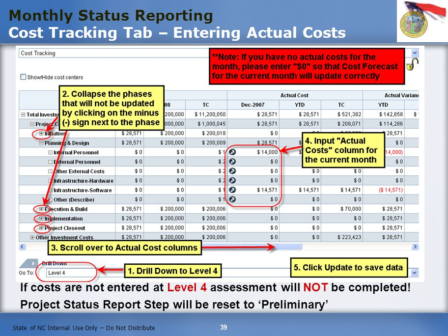 Monthly Status Reporting Cost Tracking Tab – Entering Actual Costs