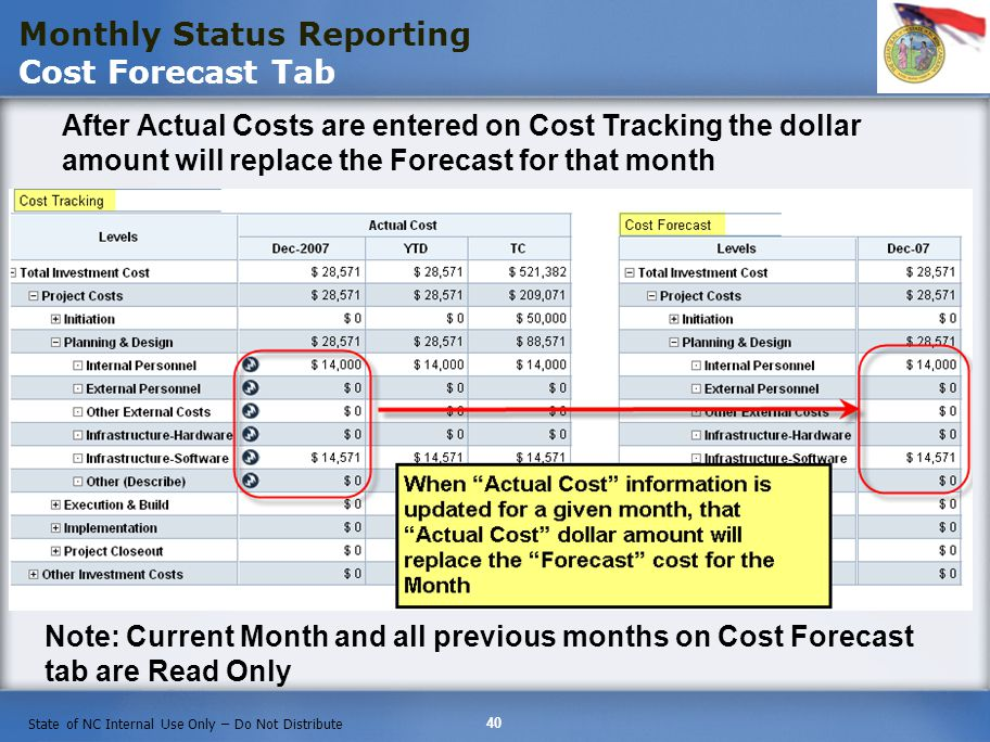 Monthly Status Reporting Cost Forecast Tab