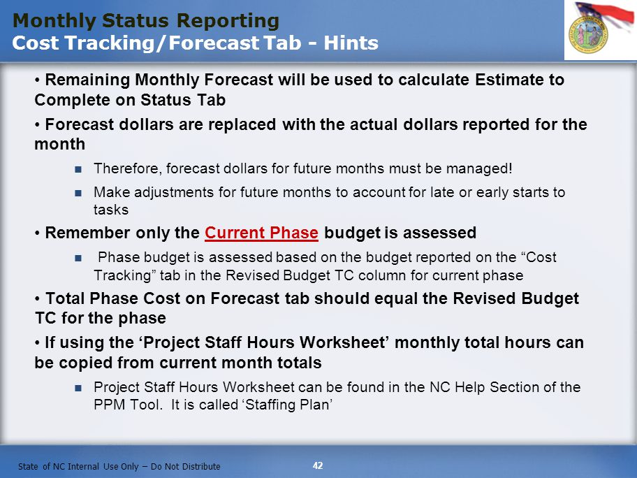 Monthly Status Reporting Cost Tracking/Forecast Tab - Hints